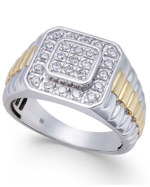 Macy's - Metallic Men's Diamond Two-tone Cluster Ring (1/2 Ct. T.w.) In 10k White Gold & Yellow Rhodium-plate for Men - Lyst