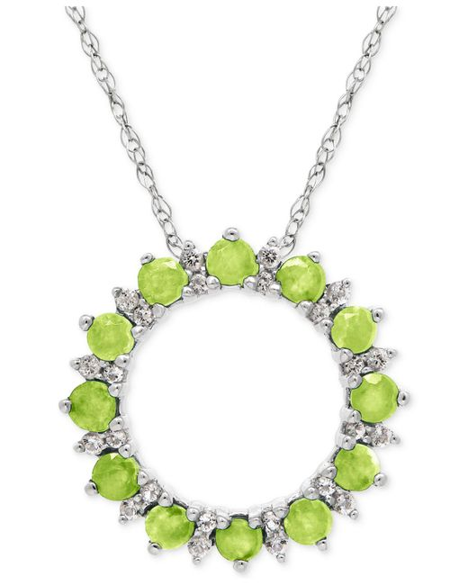 Macy's - Green Peridot (7/8 Ct. T.w.) And White Topaz (1/5 Ct. T.w.) Circle Pendant Necklace In Sterling Silver - Lyst