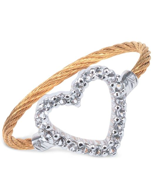 Charriol | Multicolor Women's Laetitia White Topaz-accent Heart Two-tone Pvd Stainless Steel Cable Ring 02-421-1222-3 | Lyst