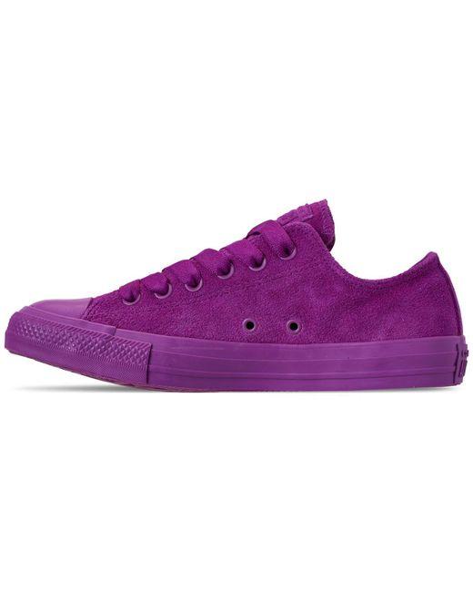 e3e6ed869bcb ... Converse - Purple Unisex Chuck Taylor All Star Suede Mono Color Low Top  Casual Sneakers From ...