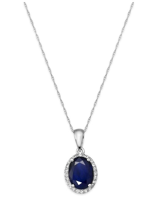 Macy's - Metallic Sapphire And White Sapphire Oval Pendant Necklace In 10k Gold (2-1/4 Ct. T.w.) - Lyst
