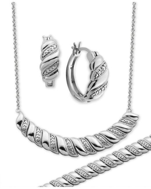 Macy's   Metallic Diamond Accent Twist Hoop Earrings, Collar Necklace And Link Bracelet Set In Silver-plate   Lyst