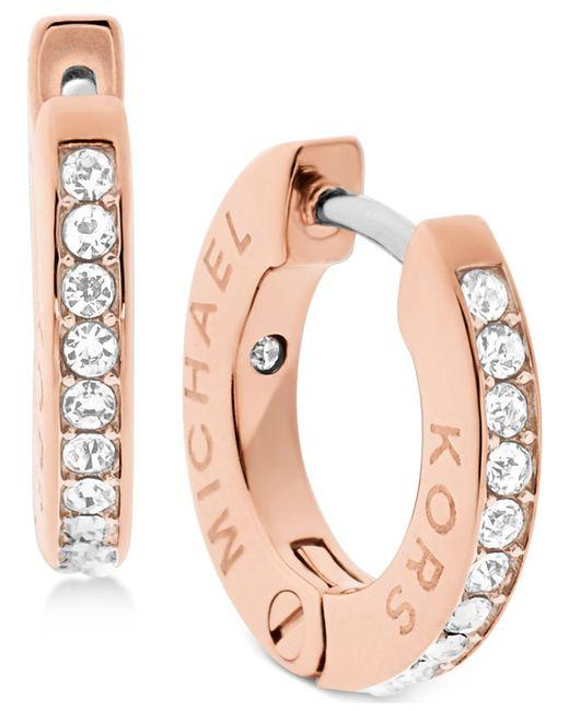 Michael Kors   Pink Pavé Engraved Hoop Earrings   Lyst