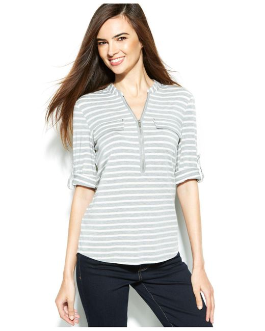 CALVIN KLEIN 205W39NYC - Gray Roll-tab Striped Zip-front Top - Lyst