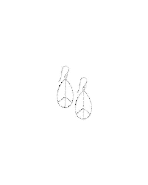 Touch Of Silver | Metallic Peace Sign Drop Earrings In Silver-plate | Lyst