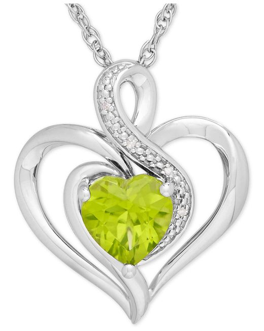 Macy's | Green Peridot (1-1/3 Ct. T.w.) And Diamond Accent Heart Pendant Necklace In Sterling Silver | Lyst