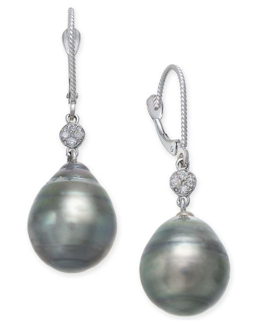 Macy's | Multicolor Cultured Black Tahitian Pearl (12mm) And Diamond Accent Drop Earrings In 14k White Gold | Lyst
