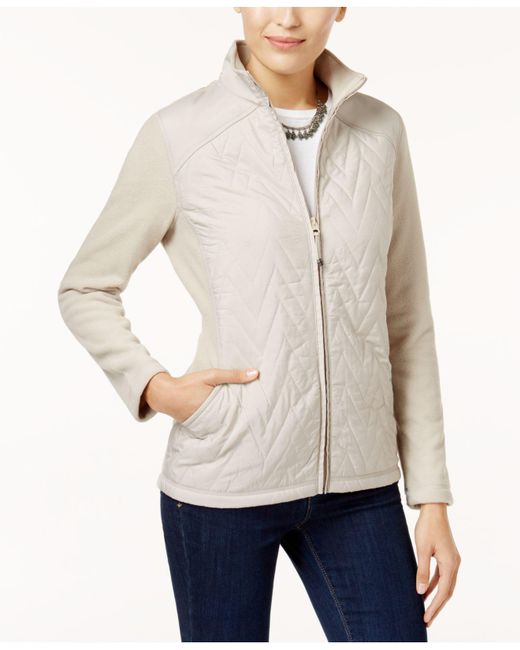 Style & Co.   Natural Petite Quilted Fleece Jacket   Lyst