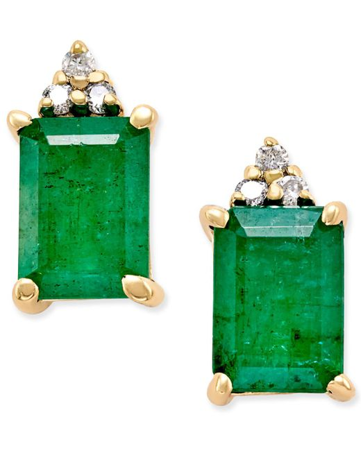 Macy's - Green Emerald (1-7/8 Ct. T.w.) And Diamond Accent Stud Earrings In 14k Gold - Lyst