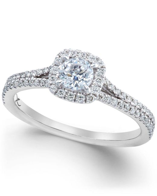 X3 - Metallic Certified Diamond Halo Engagement Ring In 18k White Gold (3/4 Ct. T.w.) - Lyst