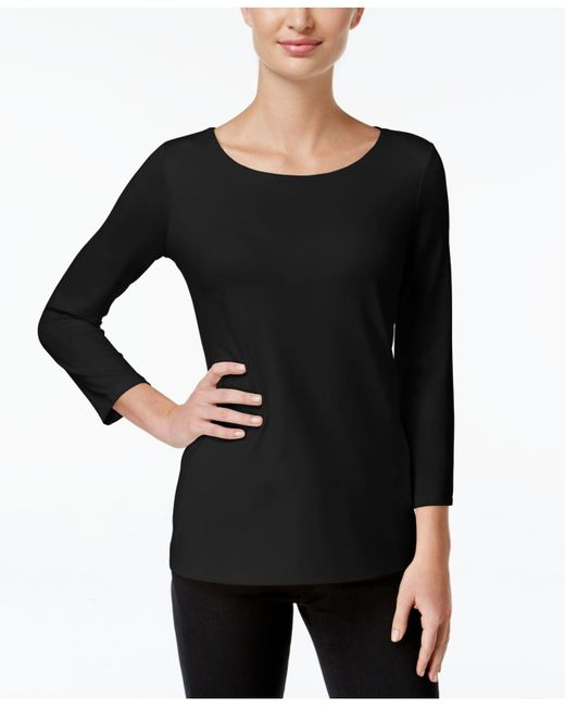 Charter Club - Black Three-quarter-sleeve Top, Only At Macy's - Lyst