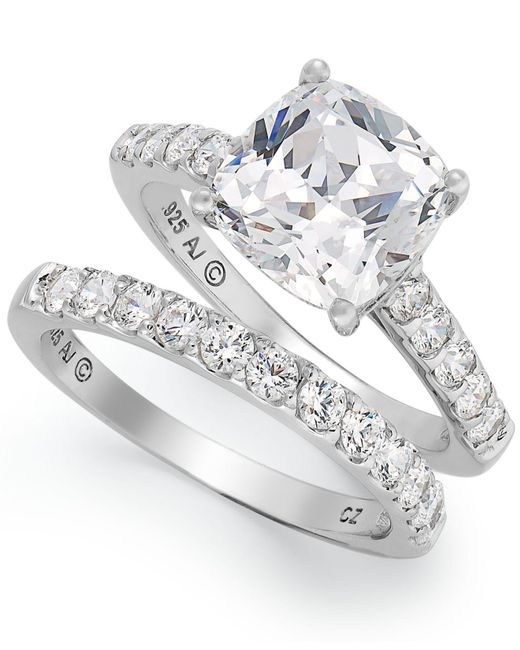 Arabella | Metallic Sterling Silver Ring Set, Swarovski Zirconia Bridal Ring And Band Set (8 Ct. T.w.) | Lyst