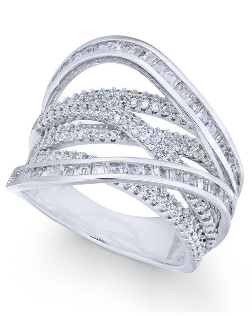 Macy's - Metallic Cubic Zirconia Crisscross Statement Ring In Sterling Silver - Lyst