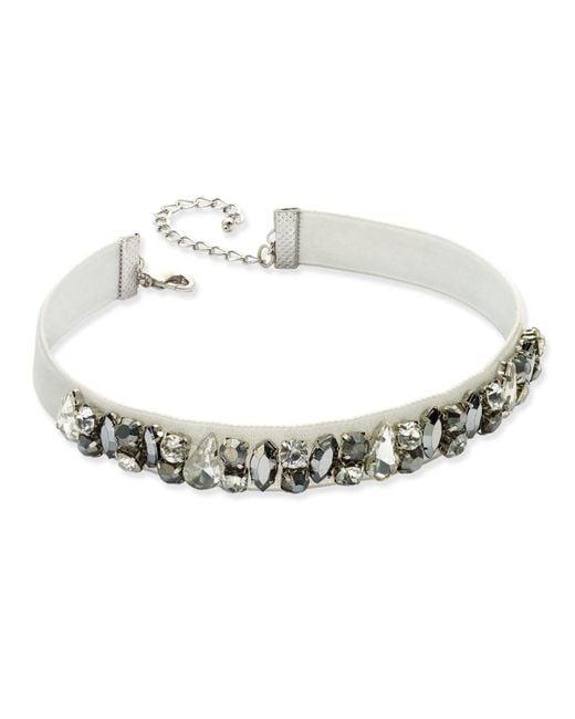 INC International Concepts | Silver-tone Clear & Hematite Crystal Light Gray Velvet Choker Necklace | Lyst