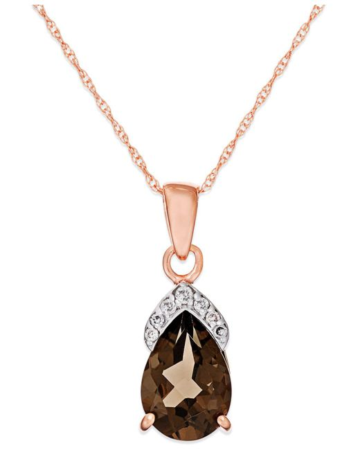 Macy's - Brown Smokey Quartz (1-7/8 Ct. T.w.) Diamond Accent Pendant In 14k Rose Gold - Lyst