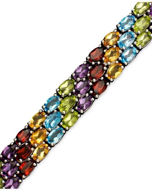 Macy's - Multicolor Sterling Silver Bracelet, Multistone Three Row - Lyst