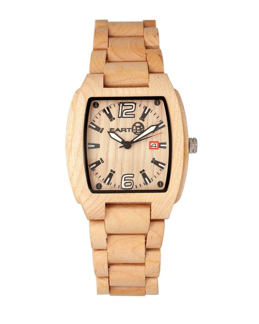 Earth Wood - Metallic Sagano Wood Bracelet Watch W/date Khaki 42mm - Lyst