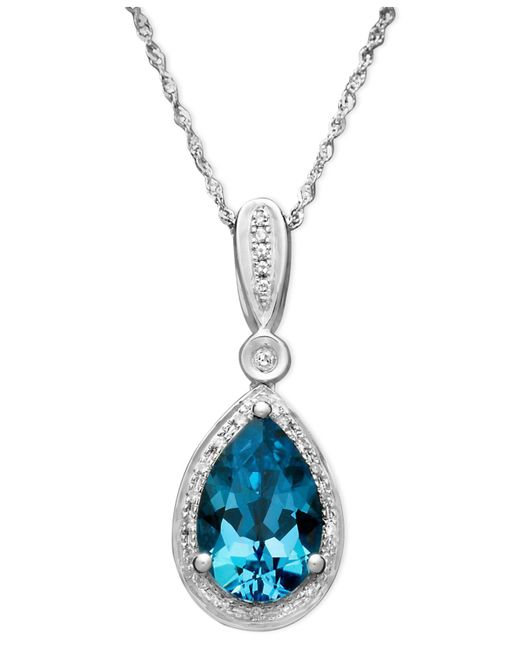 Macy's | Blue Topaz (3 Ct. T.w.) And Diamond (1/10 Ct. T.w.) Teardrop Pendant Necklace In 14k White Gold | Lyst