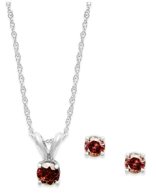 Macy's - 10k White Gold Red Diamond Necklace And Earring Set (1/4 Ct. T.w.) - Lyst