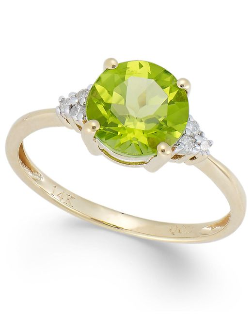 Macy's - Metallic Peridot (2 Ct. T.w.) And Diamond Accent Ring In 14k Gold - Lyst