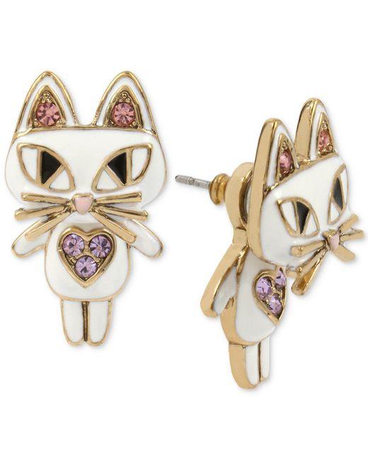 Betsey Johnson | Gold-tone White Enamel Cat Earring Jackets | Lyst