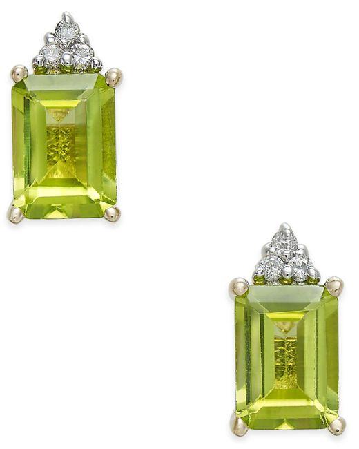 Macy's - Metallic Peridot (2-1/10 Ct. T.w.) & Diamond Accent Stud Earrings In 14k Gold - Lyst