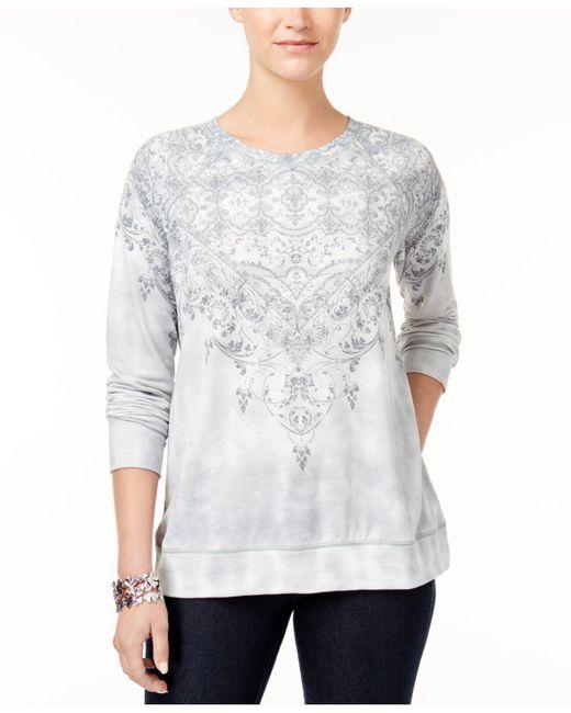 Style & Co. | Gray Tie-dyed Sweatshirt | Lyst
