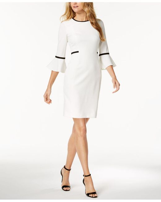 Calvin Klein - White Piped Bell-sleeve Sheath Dress - Lyst