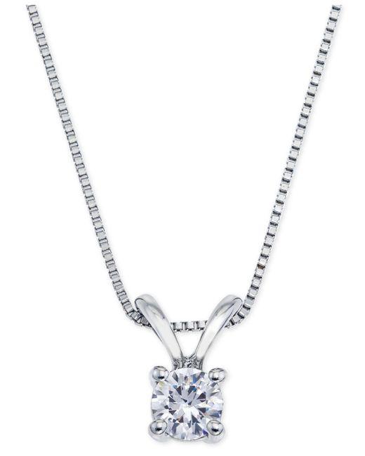 Macy's - Metallic Certified Diamond Pendant Necklace (1/4 Ct. T.w.) In 18k White Gold - Lyst