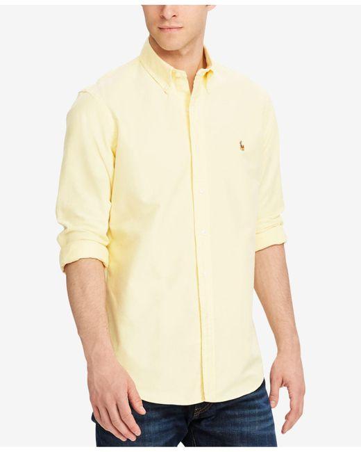 Polo Ralph Lauren - Yellow Solid Oxford Shirt for Men - Lyst