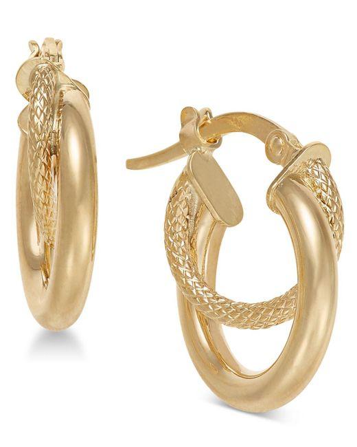 Macy's - Metallic Double Hoop Earrings In 14k Gold - Lyst