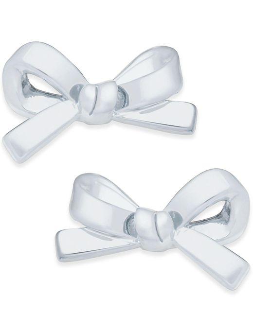 Kate Spade - Metallic Silver-tone Bow Stud Earrings - Lyst