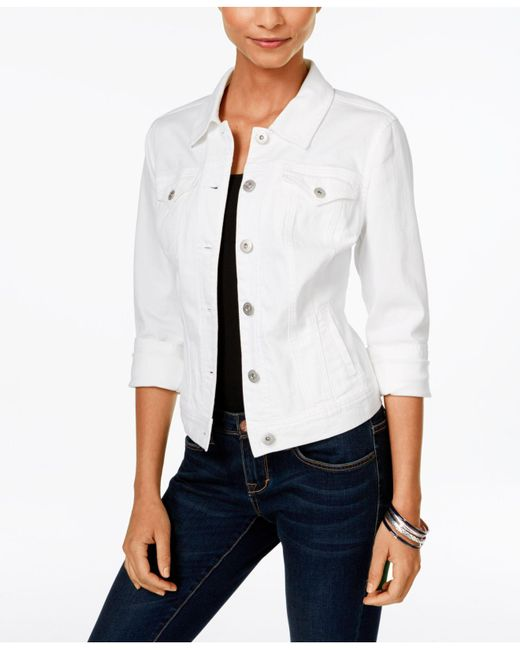 Style & Co. - Blue Petite Denim Bright White Wash Jacket - Lyst