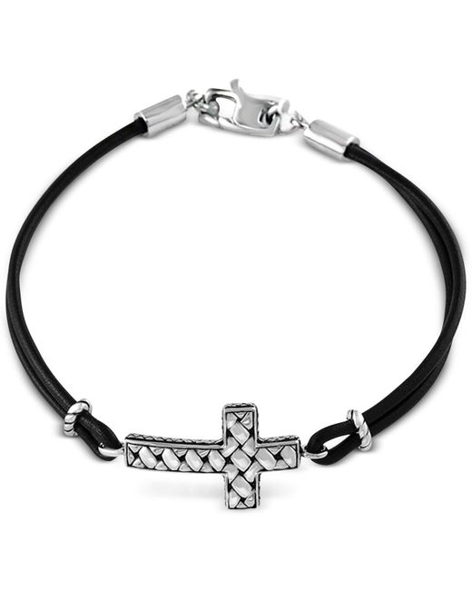 Effy Collection | Metallic Black Leather Cross Bracelet In Sterling Silver | Lyst
