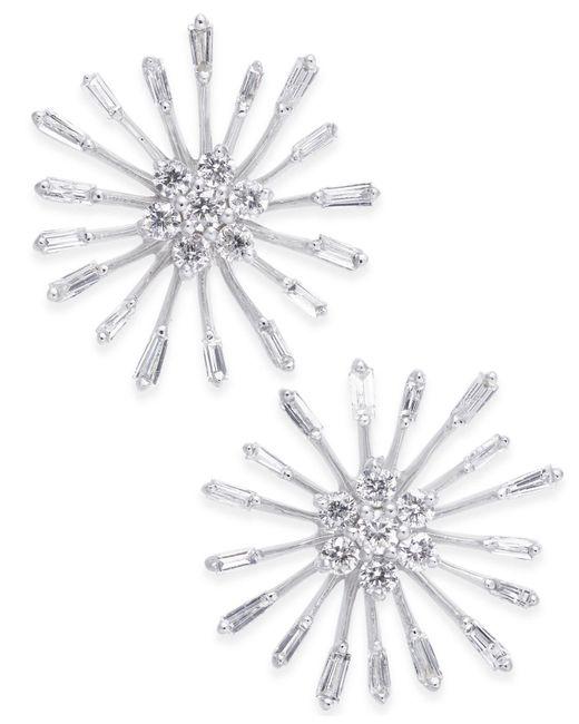 Macy's - Diamond Starburst Stud Earrings (1/3 Ct. T.w.) In 14k White Gold - Lyst