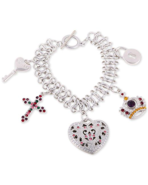 Guess - Metallic Silver-tone Multicolor Crystal Charm Bracelet - Lyst