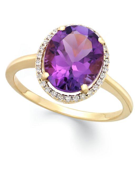 Macy's - Metallic Amethyst (3 Ct. T.w.) And Diamond (1/8 Ct. T.w.) Ring In 14k Gold - Lyst