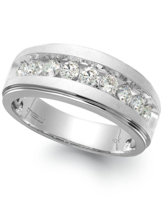 Macy's - Men's Nine-stone Diamond Ring In 10k White Gold (1/4 Ct. T.w.) for Men - Lyst