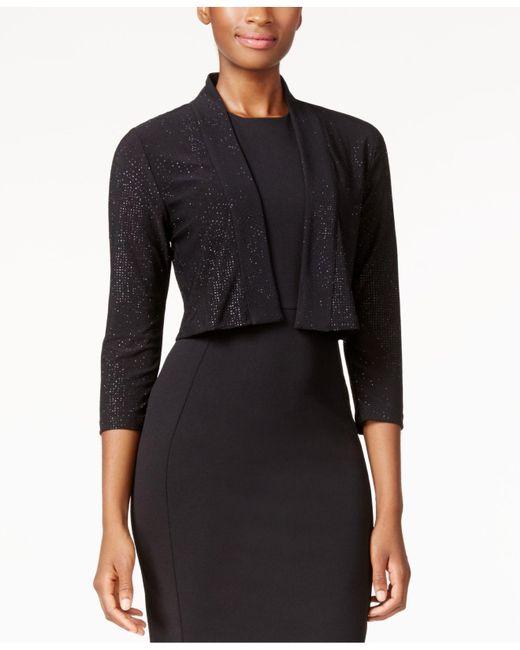 Calvin Klein Black Open-front Sparkle Shrug
