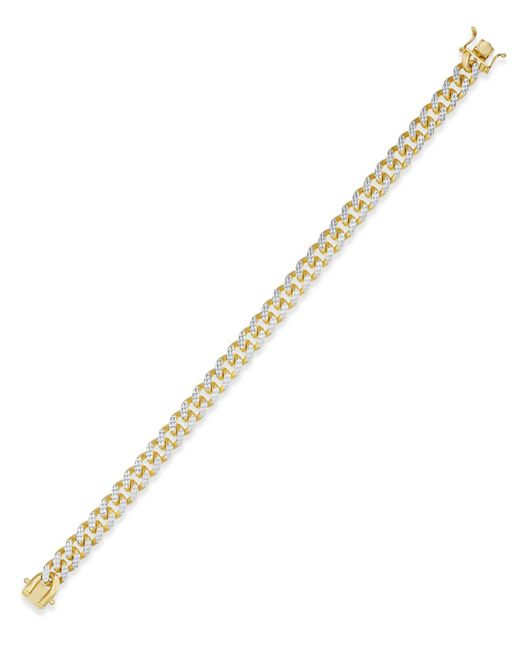 Macy's - Metallic Men's Two-tone Cuban Link Chain Bracelet In 18k Gold-plated Sterling Silver And Sterling Silver for Men - Lyst