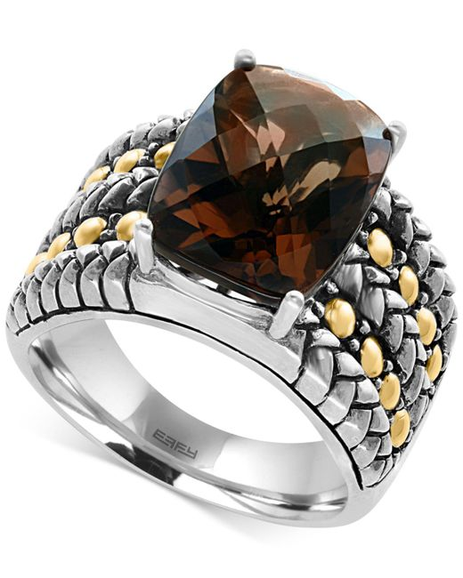 Effy Collection   Brown Smokey Quartz Statement Ring (6 Ct. T.w.) In Sterling Silver And 18k Gold   Lyst