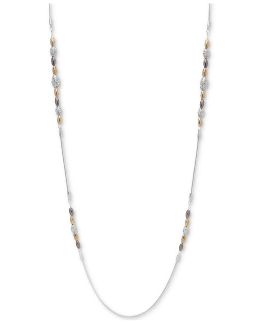 Nine West - Metallic Tri-tone Pavé Bead Strand Necklace - Lyst