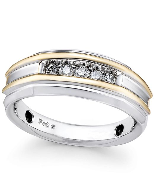 Macy's | Metallic Men's Diamond Two-tone Band (1/4 Ct. T.w.) In 10k Gold And White Gold for Men | Lyst
