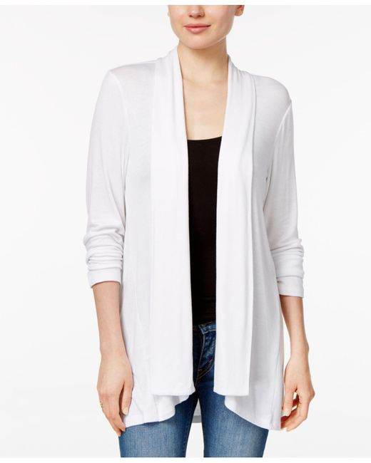 Style & Co. - White Drape-front High-low-hem Cardigan - Lyst