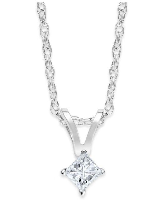 Macy's | 10k White Gold Necklace, Princess-cut Diamond Accent Pendant | Lyst