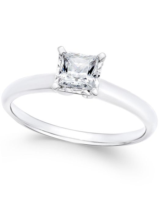 Macy's | Diamond Princess Solitaire Engagement Ring (1/2 Ct. T.w.) In 14k White Gold | Lyst