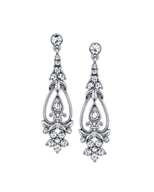 2028 - Metallic Silver-tone Vintage Crystal Drop Earrings - Lyst
