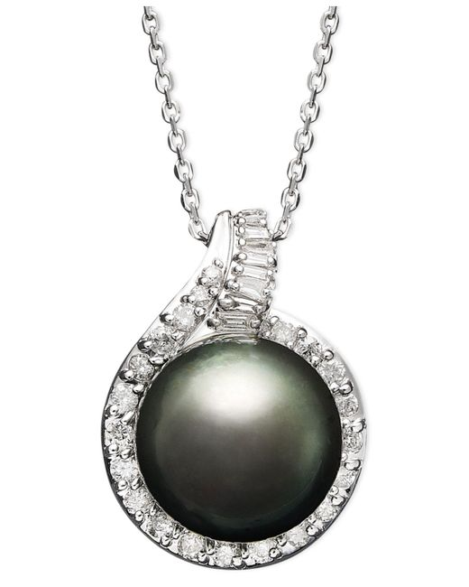 Macy's - Multicolor 14k White Gold Necklace, Cultured Tahitian Pearl (12mm) And Diamond (1/2 Ct. T.w.) Pendant - Lyst