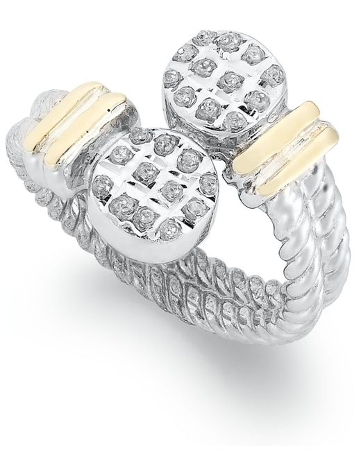 Macy's - Gray 14k Gold And Sterling Silver Ring, Diamond Accent Cable Bypass Ring - Lyst