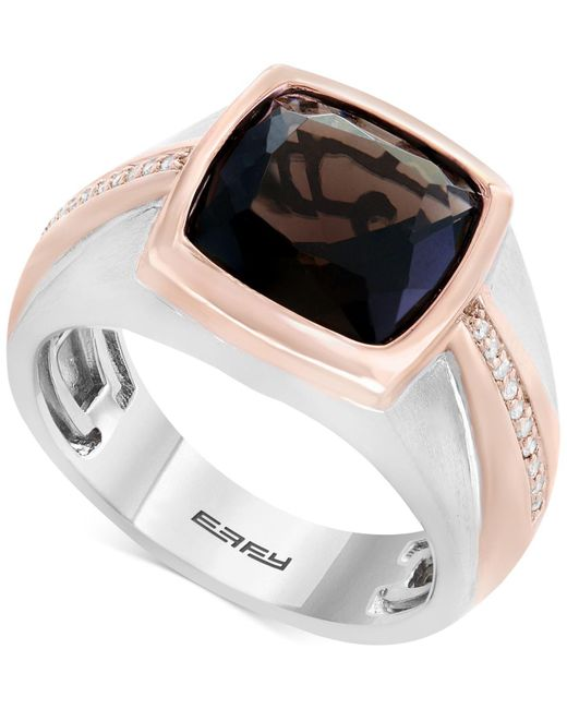 Effy Collection - Metallic Men's Smoky Quartz (4 Ct. T.w.) & Diamond (1/10 Ct. T.w.) Two-tone Ring In Sterling Silver & Rose Rhodium-plate - Lyst